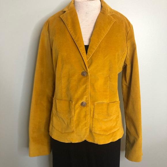 Eddie Bauer Jackets & Blazers - Eddie Bauer Golden Yellow Velour Blazer Size 10